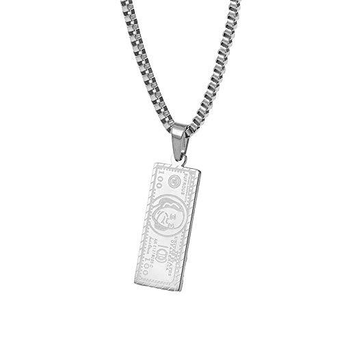 ZHWJH Hip Hop Halskette, Titan Stahl 1 Million Dollar Bills Anhänger Anhänger Männer und Frauen Halskette Schmuck,Silver (Silver Dollar Anzeige)