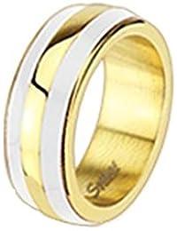 Coolbodyart unisex esmalte anillo de acero dorado mm de ancho doble rayas blanco disponibles anillo 47 (15) - tamaños 60 (19)