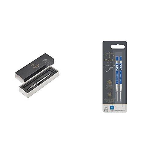PARKER 2020646 Jotter-Gelschreiber (Edelstahl mit Chromzierteilen, mittlere Schreibspitze mit 0,7 mm, Geschenkbox) schwarze Tinte  +Nachfüllmine für Gelschreiber mit mittlerer Spitze, 2er Pack, blau