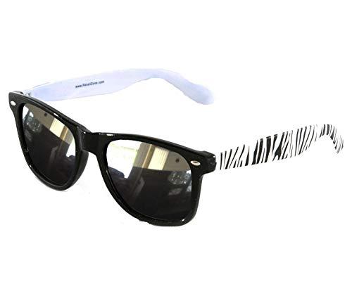 Wayfarer Fashion Sonnenbrille, Zebramuster, verspiegelt, Schwarz