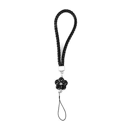Winbang Handy-Kette, PU Leder Handy-Bänder Strass Perlen geflochten Lanyard Handy Zubehör Cord Handy Handseil Schwarz -