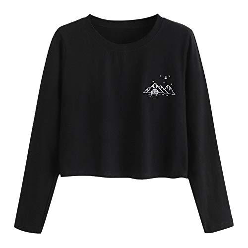 TWIFER Frauen Casual O-Neck Bluse Tägliche Sweater Mädchen Crop Pullover Sweatshirt (Damen-fair-isle-strickjacke-pullover)