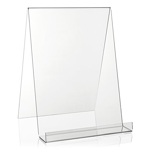 VITAdisplays® DIN A4 Buchständer / Buchstütze / Buchhalter als Warenträger aus original PLEXIGLAS® (Acrylglas, Transparent)