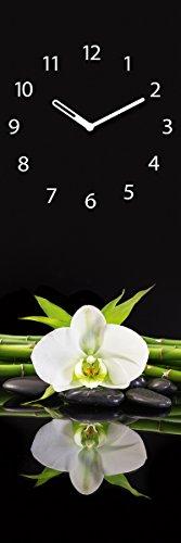Wanduhr aus Glas, Black Orchid I, weiße Orchidee, schwarz, 20x60 cm von Eurographics