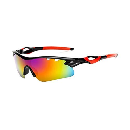 Epinki Unisex TPU+PC Fahrer Sonnenbrille Nachtsichtbrille Sportbrille Radbrille Outdoor Schutz Brille für Motorrad Fahrrad Helmkompatible, Schwarz Rot