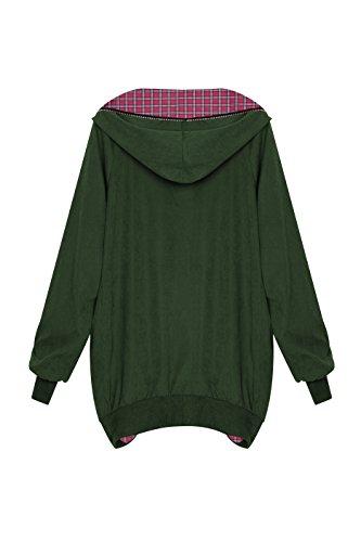 Zarlena Damen Full Zipper Jacke Hoodie Oversized Parka Kapuzenjacke in mehreren Farben und Größen Armygrün / Karomuster