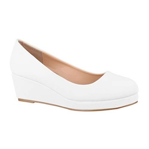 Elara Damen Pumps Wedges Keilabsatz Plateau Chunkyrayan BY8012-SP-White-37