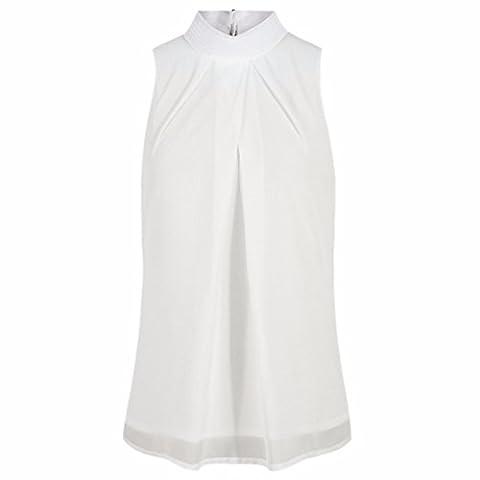 Turtle Choker Neck Sleeveless Chiffon Pleated Solid Summer Shirt Tops Blouses