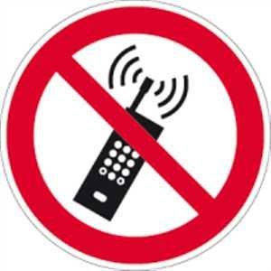 Schild Mobilfunk verboten gemäß ASR A1.3 / DIN 7010 Alu 20cm Ø (Handyverbot, Handy, Verbotsschild) praxisbewährt, wetterfest