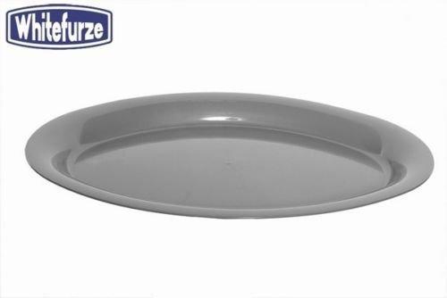 Whitefurze Plastique Table ovale Plat Bufet à salade de fruits de service 53cm Silver