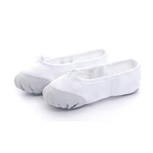 Chaussures de Ballet de Toile Blanche Chausson de Danse lyrique Semelle Plate Fendue Souple en Cuir véritable Durable pour Les Filles Qui Dansent Les Femmes