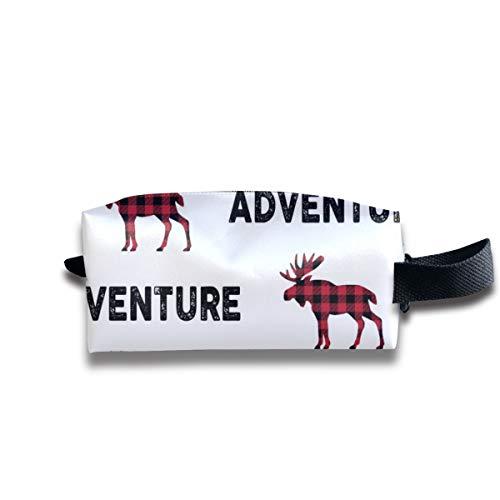 Adventure Moose - Schwarz + Rot Plaid Buffalo Check Jungen Bettwäsche Ginger Lous_20215 Tragbare Reise Make-up Kosmetiktaschen Organizer Multifunktions-Tasche Taschen für Unisex -
