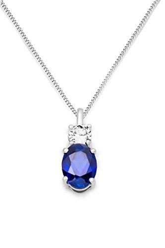 Miore Damen-Halskette 925 Sterling Silber Saphir blau und Zirconia Anhänger 45 cm Kette SAS009N (Herren Blau Saphir Anhänger)