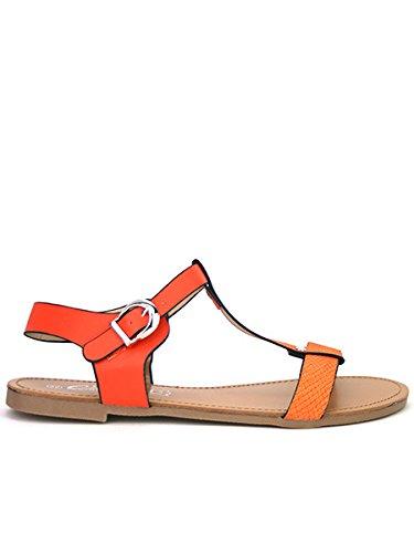Cendriyon, Sandale Bi Colors JULINA Chaussures Femme Orange