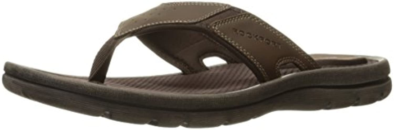 Rockport Men's Get Your Kicks New Thong Flip Flop  Dark Brown Leather  7 M US