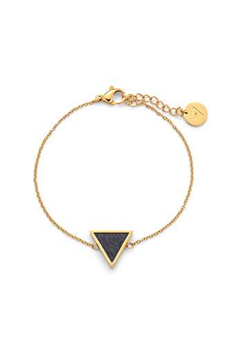 KERBHOLZ Holzschmuck - Geometrics Collection Triangle Bracelet, filigranes Frauen Armband in gold mit Dreieck Anhänger aus Naturholz, größenverstellbar (Armbandlänge 15 + 2,5 cm)