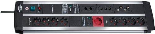 Brennenstuhl Premium-Protect-Line, Steckdosenleiste 9-fach mit Überspannungsschutz und Master Slave Funktion (3m Kabel und Schalter) Farbe: schwarz