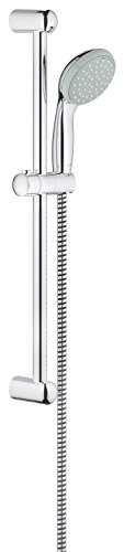 Grohe 27598000 Tempesta 100, Brausestangenset 620mm, 2 Strahlarten, feste Bohrlöcher zur Befestigung, chrom