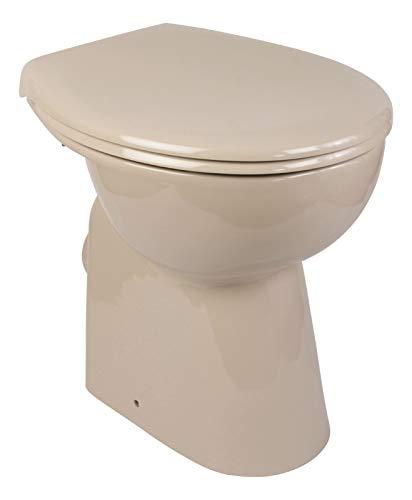 Calmwaters - Riou - Erhöhtes Stand-WC mit Erhöhung von 7 cm ohne Spülrand in Beige im Set mit Toilettendeckel - 07AB5426