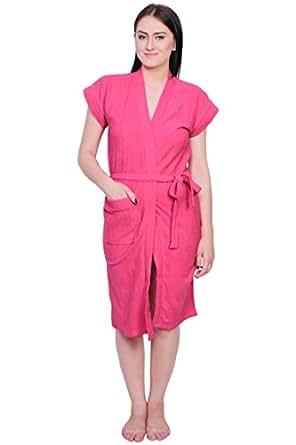 Gurunanak Fashion Women's Pink Cotton Bathrobe