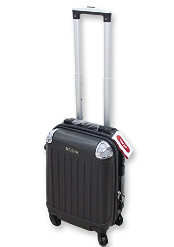 TROLLEY VALIGIA BAGAGLIO A MANO ABS CABINA RYANAIR EASY JET 4 RUOTE LOW COST NUOVO 2017 (NERO)