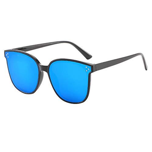fazry Damen Retro Leicht Übergroß Mode Sonnenbrille -Gespiegelt Polarisiert Linse(Blau)