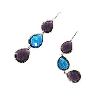 Gemshine Damen Ohrringe lila Amethysten und blaue Topas Quarz Tropfen. 925 Silber oder vergoldete Ohrhänger. Nachhaltiger, qualitätsvoller Schmuck Made in Spain, Metall Farbe:Silber