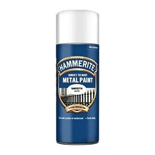 Hammerite Direct to Rust Metal Paint Aerosol 400ml Smooth White
