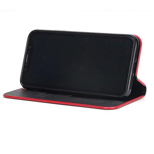 Luxus schlanke magnetische Verschluss Muster Solid Color PU Leder Flip Folio Stand Fall Deckung mit Card Slot für iPhone X ( Color : Blue ) Black