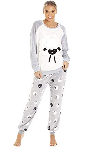 Camille Hellgrau Supersoft Velour Fleece Schaf Character Pyjama Set 38/40