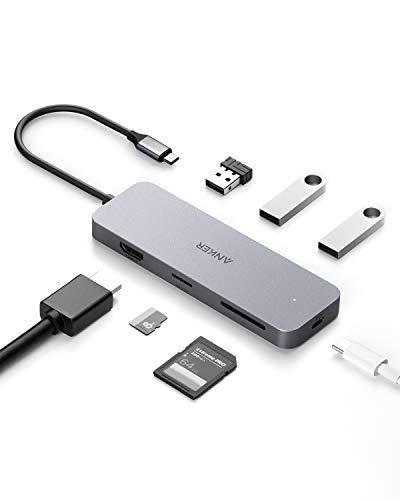 Hub Anker USB C, hub tipo C 7-in-1, 4K USB C ad adatt. HDMI, lettore scheda microSD/SD, 3 porte USB 3.0, erog. pot. 60W, MacBook Pro, iPad Pro 2018, Chromebook, XPS, Galaxy S9/S8, altro, spazio grigio