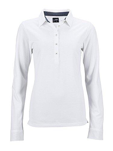 Polo manches longues avec détails tendance Polo femme manches longues white/navy-white