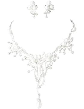 Schmuckanthony Best Seller Glamour Brautschmuck Schmuckset Set Kette Ohrringe versilbert Perlen Weiß und Kristall...