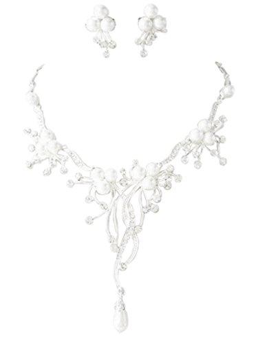 Schmuckanthony Best Seller Glamour Brautschmuck Schmuckset Set Kette Ohrringe versilbert Perlen Weiß und Kristall klar Transparent