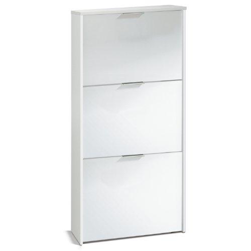 Habitdesign LC7877BO - Zapatero con 3 puertas capacidad 18 pares, color Blanco brillo