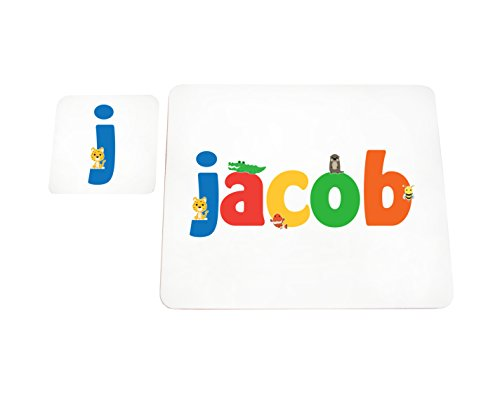 Little Helper Jacob de Coast erandpl acemat de 15de personnalisée, fille nom et dessous de 4 sets de table avec finition brillant, Jacob