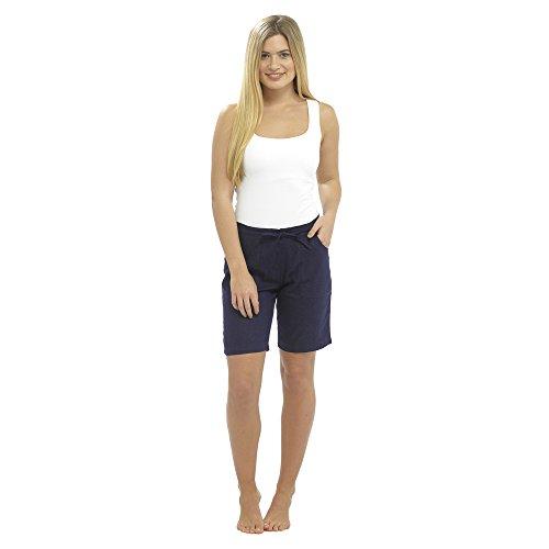 CityComfort Damen Leinen Freizeithosen Urlaub elastische Taille Damen Sommer Hosen Hosen Shorts beschnitten mit Taschen (22, Navy Shorts)