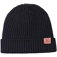 FENICAL Sombrero de Invierno Skullies Sombreros Gorro de Punto Espesar Gorro de Terciopelo cálido para Hombres Mujeres (Negro)