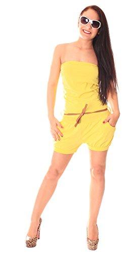 Femme Bandeau été Jumpsuit Combinaison courte sans bretelles schulterfrei Onesize Unicolore Jaune - Jaune