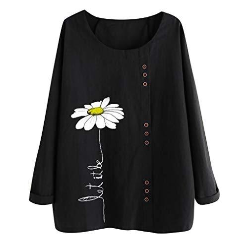 MOTOCO Damen Langarm T-Shirt Top O Kragen Knopf gedruckte Freizeitbluse(4XL,Schwarz) -