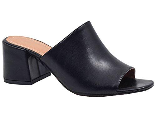 MaxMuxun Chaussures Femme Sandales Bout Ouvert Slippers Noir