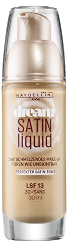 Maybelline Dream Satin Liquid Make-up Nr. 30 Sand, flüssiges Make-up, verschmilzt mit der Haut, für unsichtbare Poren und ein angenehmes Hautgefühl, feuchtigkeitsspendend, 30 ml