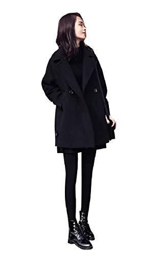 CuteRose Womens Notch Collar Fall Winter Overcoat Jackets Classic PEA Coat Black XS Womens Wool Toggle