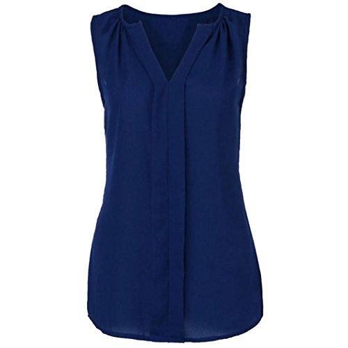 IMJONO Damen Womens Plus Größe Chiffon Weste Hemd ärmelloses Bluse Casual Tank Tops T-Shirt
