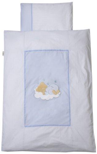 Easy Baby 415-81 Parure de lit 80 x 80 cm Motif ourson endormi Bleu