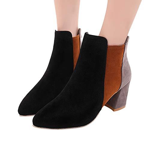 TianWlio Boots Stiefel Schuhe Stiefeletten Frauen Herbst Winter Spitze Wildleder High Heel Schuhe Gemischte Farbe Stiefel Zipper Boot Weihnachten Schwarz 42