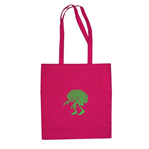 Planet Nerd Walking Brain - Stofftasche/Beutel, Farbe: pink (Rosa Und Das Gehirn Kostüm)