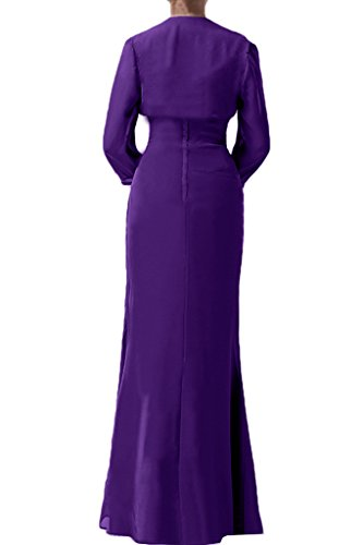 Victory Bridal Edel Brautmutter Chiffon Geraft Abendkleider Partykleider Promkleider Bodenlang mit Langarm Bolero neuheit Lila