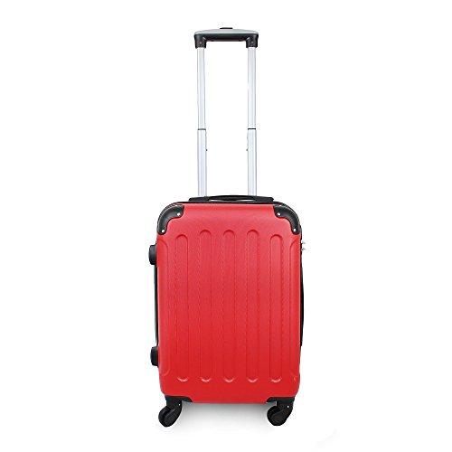 Todeco - Maleta De Mano, Equipaje de Cabina - Tamaño (ruedas incluidas): 56 x 38 x 22 cm - Tamaño interno: 49 x 35 x 21 cm - Esquinas protegidas, Llevar-en 51 cm, Rojo, ABS