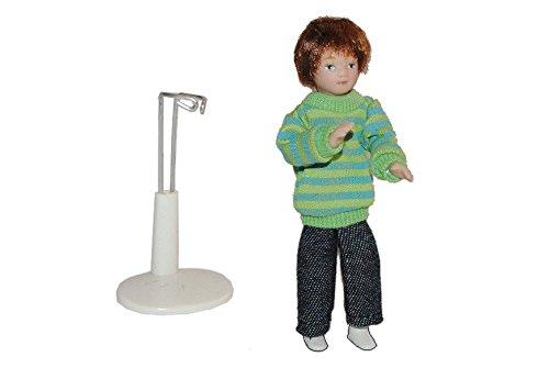 Unbekannt Junge Puppe für Puppenstube - Maßstab 1:12 - Porzellan Puppen Biegepuppe Nostalgie Porzellanpuppe